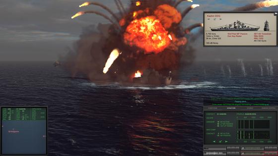 Schon die Explosionen sind extrem spektakulär. Man achte nur mal auf die brennenden Trümmerteile und die Spritzer im Wasser (rechts).