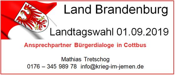 Bürgerdialoge in Cottbus - Landtagswahlen 2019 Brandenburg - Kontakt Ansprechpartner und Organisator Mathias Tretschog
