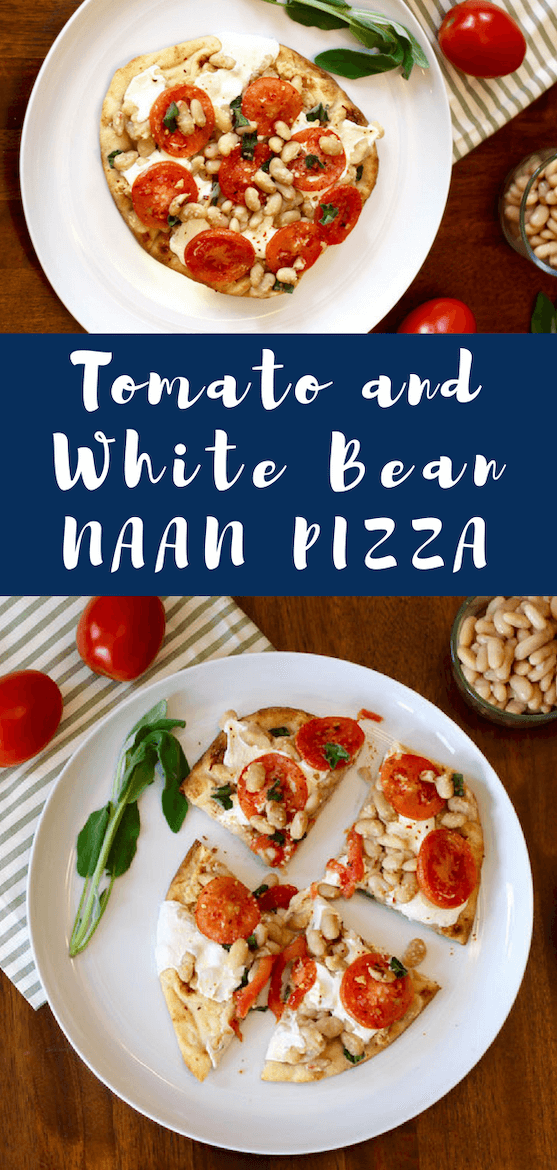 Eating healthy but missing pizza? The solution: white bean pizza. Naan bread pizza recipes are so easy—just finish with your favorite good pizza toppings, like veggies and cheese! #healthyeating #homemadepizza #flatbreadrecipes #vegetarian #highprotein