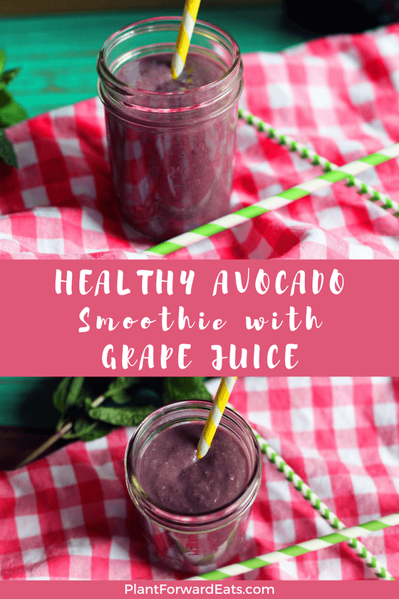 You'll love this Grape Juice Avocado Smoothie for a healthy breakfast! This healthy green grape smoothie features bananas, Concord grape juice and avocado. #avocadosmoothie #purplesmoothie #grapejuiceavocadosmoothie #grapesmoothie #welchs #sponsored