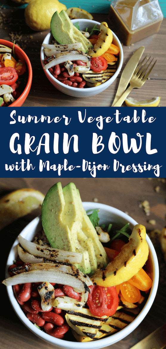 I teamed up with Maple from Canada to create this Summer Vegetarian Grain Bowl with Maple-Dijon Dressing, loaded with good-for-you veggies. #sponsored #maple #maplesyrup #sweetandsavory #grainbowl #honeydijon #maplefromcanada