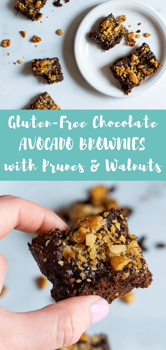 Enjoy these walnut avocado prune brownies! They're dairy free and gluten free. #glutenfree #dairyfree #brownies #avocadobrownies #prunes #rdrecipes #heartmonth #hearthealthyrecipes