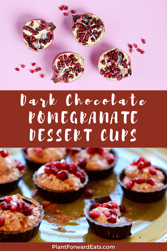 This healthy dessert recipe is no bake! Add these Pomegranate Crunch Chocolate Ricotta Cups to your list of favorite easy healthy recipes perfect for Christmas!