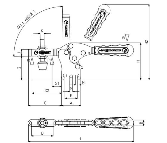 KUKAMET Horizontalspanner bzw. Waagrechtspanner oder Kniehebelspanner mit senkrechtem Fuß
