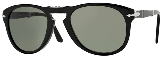 Occhiali da sole uomo Persol Modello: 0714S pieghevole. Colore: 95/31 nero. Colore lenti: verde. Calibro 52-21, 54-21. Forma: Pilot. Materiale: plastica. Protezione UV 100%