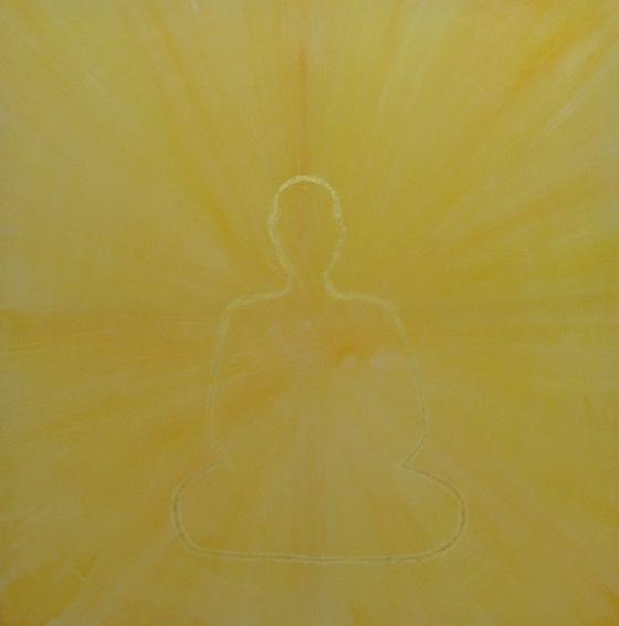 """""""Metta-Selbstlose Liebe"""" 160x160cm Acryl auf Leinwand, Blattgold. 2011"""