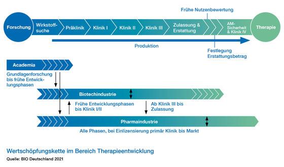 Grafik zur Wertschöpfungskette im Bereich Therapieentwicklung
