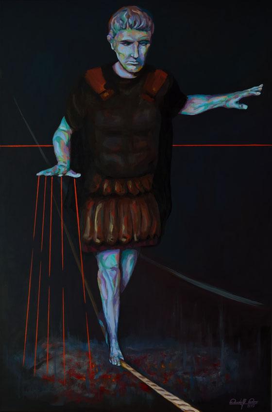 Porträt des Caligula in Acryl auf Leinwand gemalt.