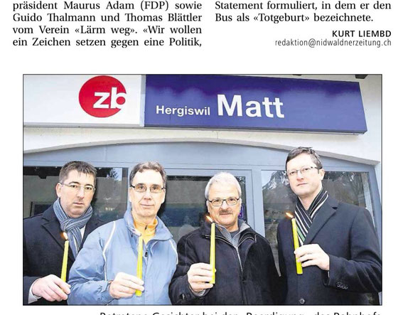 Protestaktion am Sonntagmorgen früh. Thomas Blättler, Guido Thalmann, Maurus Adam, Peter Keller.