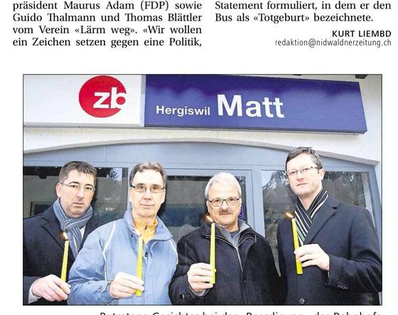 Protestaktion am Sonntagmorgen früh. Thomas Blättler, Guido Thalmann, Maurus Adam, Peter Keller.