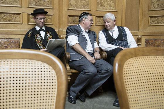 Tag der Trachten im Bundeshaus. Mit meinen Fraktionskollegen Jean-François Rime (FR) und Max Binder (ZH) - (Foto Keystone)