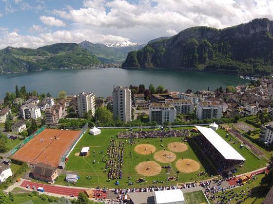 Blick auf die Arena des Ob- und Nidwaldner Kantonalschwingfestes 2014