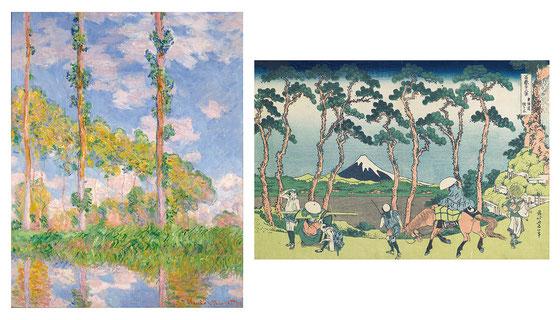 (右)葛飾北斎《冨嶽三十六景 東海道程ヶ谷》 1830-33(天保元-4)年頃 横大判錦絵 25.7×37.8cm ミネアポリス美術館 Minneapolis Institute of Art, Bequest of Richard P. Gale 74.1.237 Photo: Minneapolis Institute of Art (左)クロード・モネ 《陽を浴びるポプラ並木》1891年 油彩、カンヴァス 93×73.5cm 国立西洋美術館(松方コレクション)
