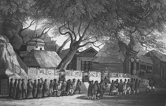 Procession chinoise. C. Laplace (1793-1875) : la CHINE, dans : Voyage autour du monde sur la Favorite (1830-1832). Et de : Campagne de circumnavigation de la frégate l'Artémise (1837-1840).