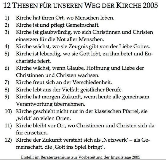Pastoraler Prozess im Bistum Fulda - Kirchenthesen 2005