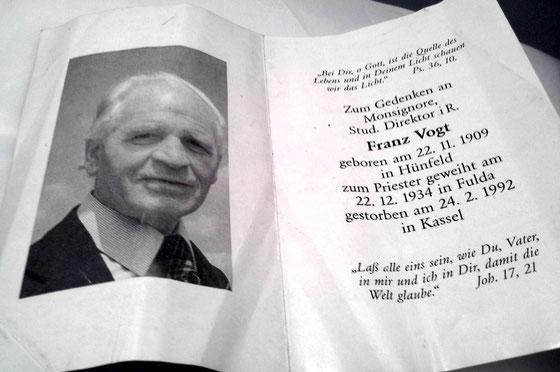Zum Gedenken an Monsignore Stud. Direktor i.r. Franz Vogt 1909-1992