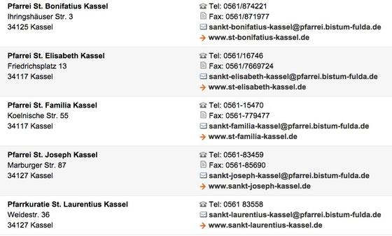 Kontaktadressen im Pastoralverbund