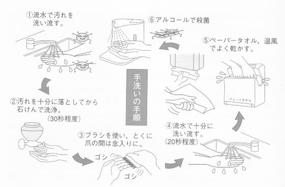 新型コロナウイルス感染防止の為に手洗いを徹底しましょう。手洗いの手順を掲載しています。