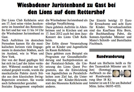aus: Kelkheimer Zeitung Ausgabe 23 / 6. Juni 2012