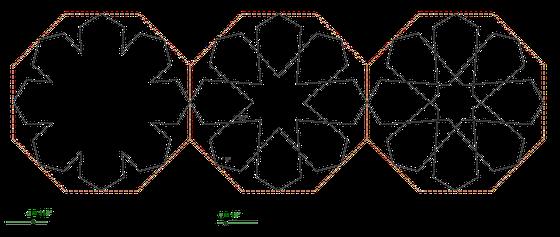 figuur 9 Vlnr: (R0, D8, 118º, 36 º); R1, D8, 118 º, 36 º); (R2, D8, 118 º, 36 º) Drie rozetten in een octagon die aan de 'buitenkant' gelijk zijn, maar aan de 'binnenkant' verschillen. Vandaar de typering respectievelijk R0, R1 en R2.