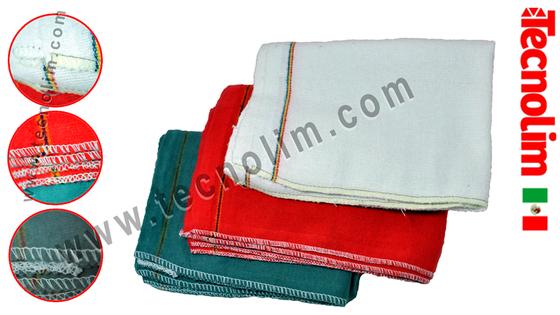 franela ribeteada costura limpieza algodón colores rojo gris blanco rollo mayorista seguridad