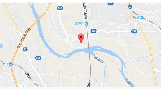 地図上の赤い印が阿弥陀寺の場所(地図データ: Google Map)。