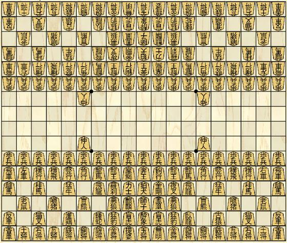 摩訶大将棋の初期配置(横19マス・縦16マス)