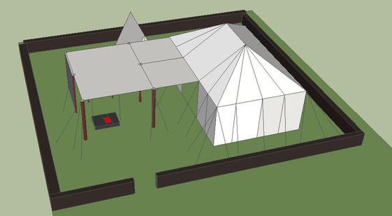 3D-Skizze. Erster realer Aufbau erfolgte im Oktober 2018. Mehr Fotos vom aufgebauten Lager weiter unten auf der Seite.