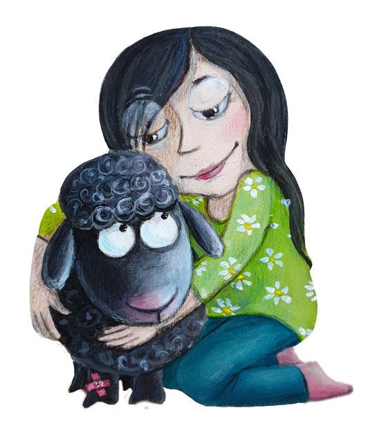 Ein Mädchen hält ein schwarzes Schäfchen im Arm, das ein Pflaster am Bein hat und tröstet es.