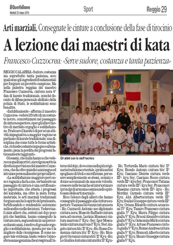 """Articolo apparso il 23.03.2010  sul giornale  """" Il  Quotidiano """""""
