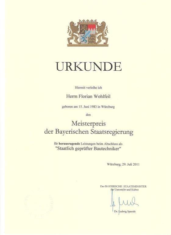 Meisterpreis der bayerischen Staatsregierung Staatlich geprüfter Bautechniker