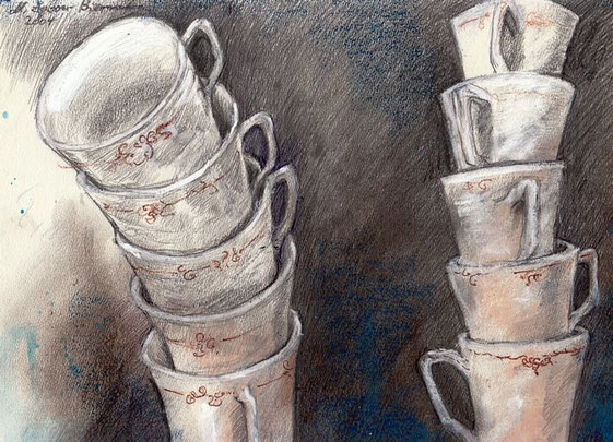 Tassentürme. Bleistift, Aquarell, Kreiden. DIN A3, 2004.