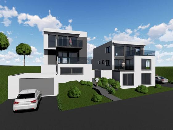 Vorderansicht eines projektierten modernen Doppelhauses