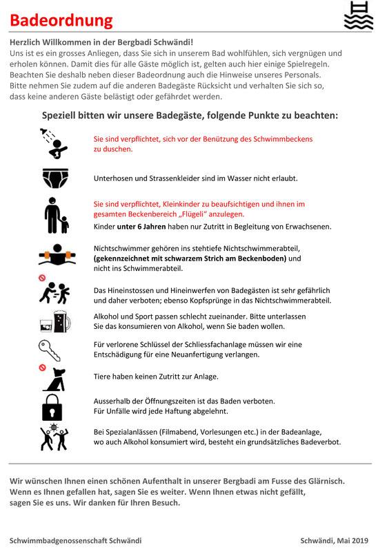 Badiordnung, Schwimmbadgenossenschaft Schwändi          Mai 2020
