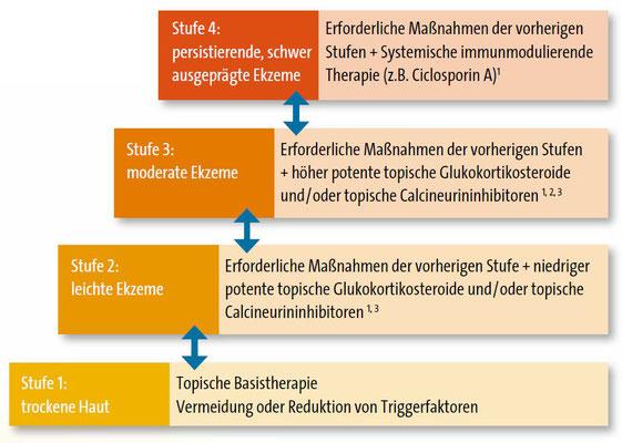 Das Stufenschema zur Behandlung der atopischen Dermatitis nach der neuen Leitlinie (Grafik: Heratizadeh)