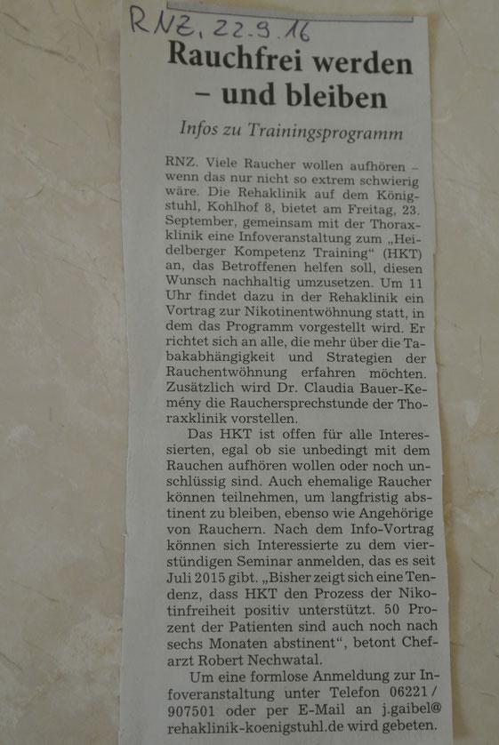 HKT zur Rauchentwöhnung an der Rehaklinik Königstuhl Heidelberg