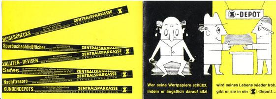 Wertpapier-Depot (Aktiendepot) der Zentralsparkasse. Werbung für die sichere Verwahrung (Schließfach, Nachttresor, Safes) von Wertpapieren. Faltblatt von Heinz Traimer (Ende der 1950er Jahre).