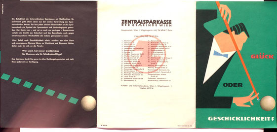 Glück oder Geschicklichkeit. Prospekt der Zentralsparkasse (Billardspieler) um 1956 (Heinz Traimer).