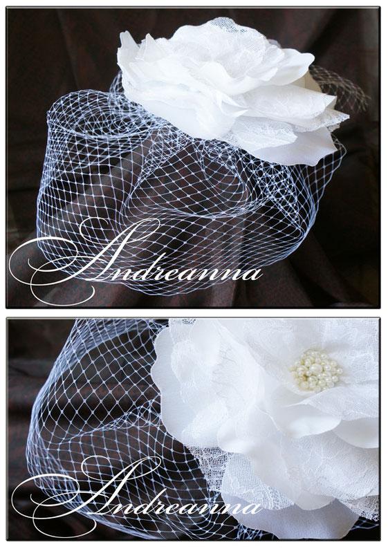 большой цветок с вуалью, стоимость 450 грн (возможно выполнение в любом цвете, с добавлением желаемых деталей (перья, жемчуг, ветка и т.д.)