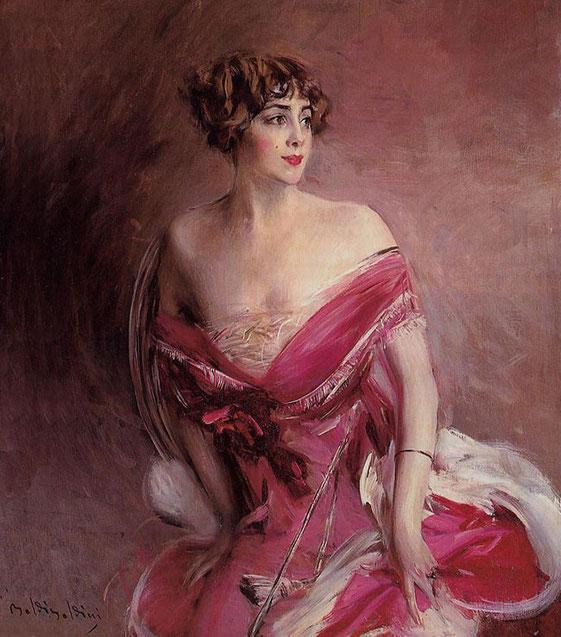 женский портрет в красном