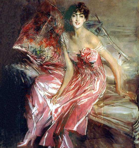 портрет женщины в розовом