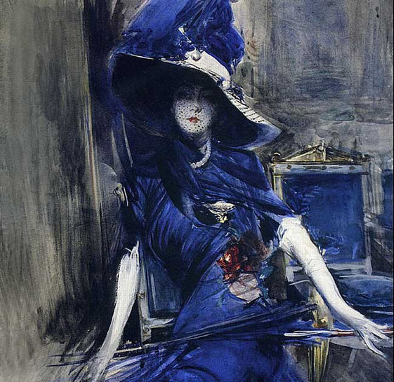портрет женщины в синем