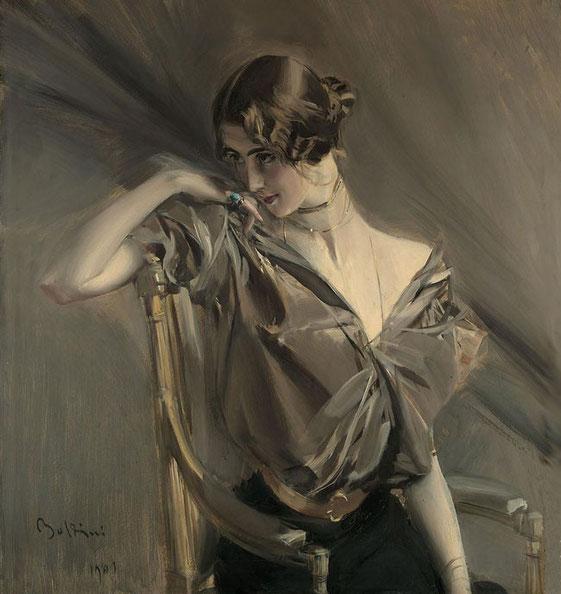 портрет женщины в сером