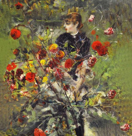 портрет с розами