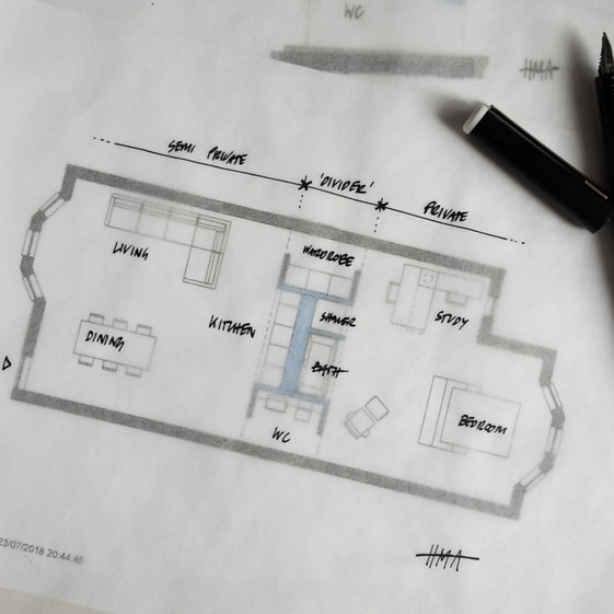 Raumteiler In A Victorian Terrace Floor Plan Sketch by Heidi Mergl Architect