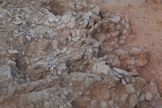 Le sol d'une pièce dans les restes du palais Spartiate qui a brûlé au XIVe siècle avant J.-C. (Greek Culture of Ministry)