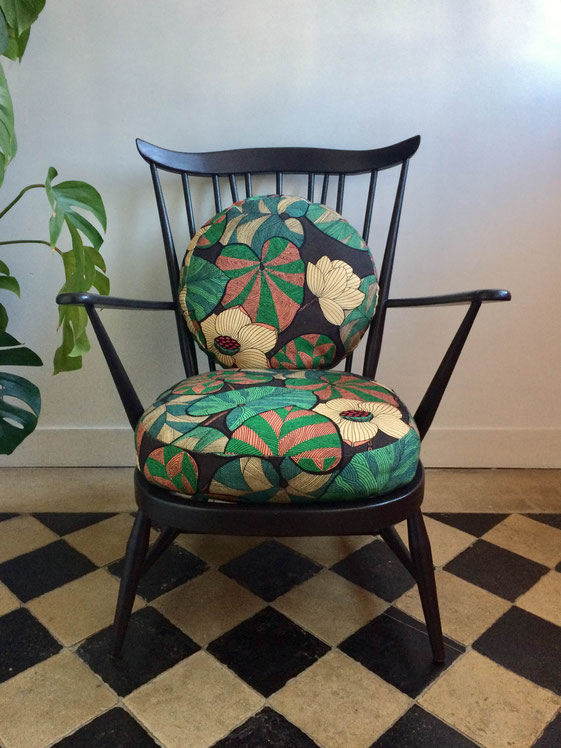 fauteuil Ercol, fauteuil à barreau, tissu Thévenon