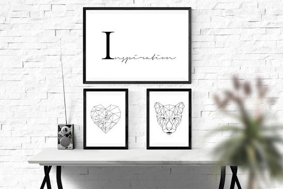 Typografie-Poster Illustration, Schwarz-weiß Poster