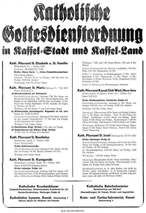 Gottesdienstordnung für Kassel Stadt und Land ca. 1950