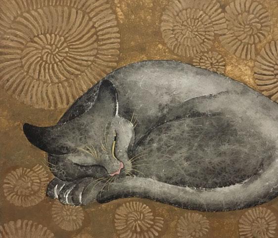 「アンモナイトと夢見し」 和紙 墨 金泥 岩絵の具 膠 金箔 F10